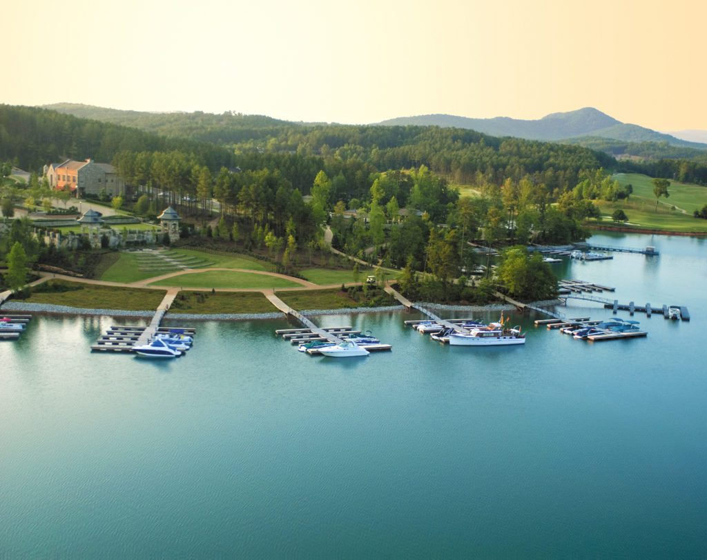 drone picture of the marina at The Reserve with sail boats and speed boats in the dock